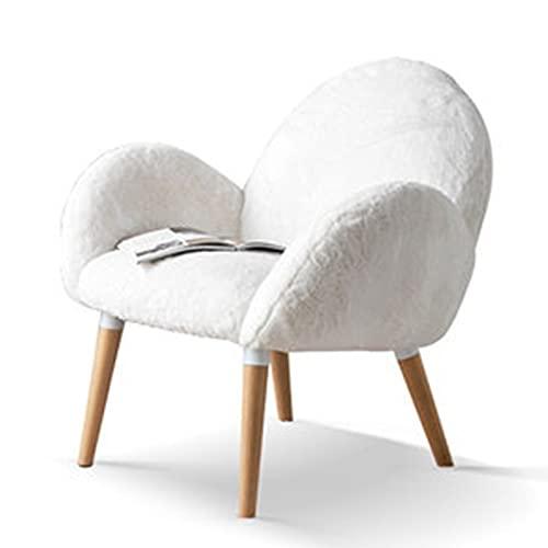 QuRRong Sillón Butaca Silla de sofá Individual de Tela Simple Moderna Europea sillón Silla Sala de Estar Silla Trasera para Salón del Dormitorio (Color : White, Size : 81x73x77cm)