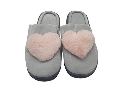 takestop Pantofole Ciabatte Cuore Cuori MORBIDE Calde COMODE Antiscivolo Tacco Peluche Animale Animali Idea Regalo Invernali (36/37, Grigio)