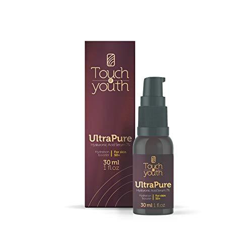 Touch of Youth UltraPure Hyaluronsäure Serum, 30 ml I mit 7% HA I hochkonzentriert I Natürliches Hyaluron Anti-Aging gegen Falten I Ideale Pflege für Gesicht, Hals und Dekolleté I Feuchtigkeitsspender