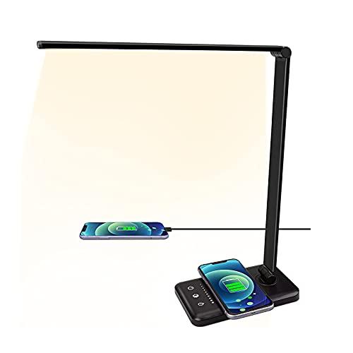 HZNZYJ Lámpara de Escritorio LED con Cargador inalámbrico Carga USB 5 Modos de iluminación 5 Niveles de Brillo Control Sensible Temporizador de 30/60min lámpara de Oficina de caradura Ocular