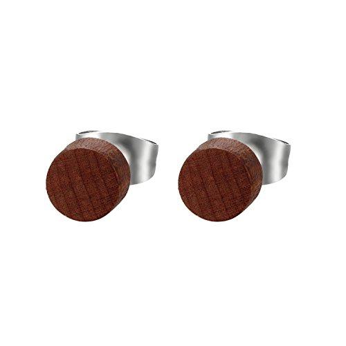 JewelryWe Schmuck Herren Damen Ohrstecker, Edelstahl Holz Runde Ohrringe Piercing, Braun, 6mm