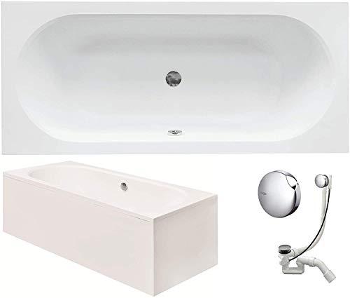 VBChome Badewanne 160 x 75 cm Acryl SET Schürze Siphon Acrylwanne Wanne Rechteck Weiß Design Modern Wannenfüßen Ablaufgarnitur Chrome Viega Simplex