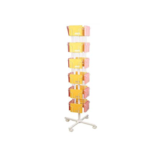 ZBM-ZBM CD Display Stand, Roterende Opslag Vlinder PS4 Display Creatieve Stand 6 Laag van De Mobiele Tijdschrift Rack Grote Rotationele Beweging Brochure Informatie Reclame Rack Multi-Layer adverti Kleur: wit