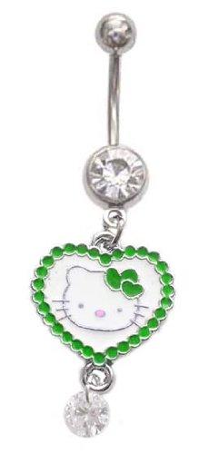Hello Kitty Green Heart Cz gem Dangle Belly Button Navel Ring Banana Piercing bar Body Jewelry 14g