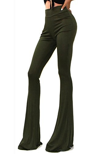 Vivicastle Women's Boho Solid Hippie Wide Leg Flared Bell Bottom Pants (Large, Olive)