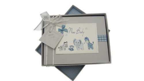 White Cotton Cards Album photo bébé Motif animaux Vichy Bleu Petit modèle