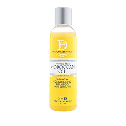 Design Essentials Protective Styles Moroccan Oil Sulfate-Free Conditioning Shampoo-Great for Virgin Hair Extensions, Weaves & Wigs - 6oz