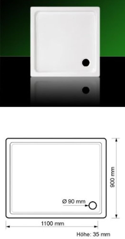 Acryl Duschwanne Duschtasse Eck 110 x 90 SUPERFLACH mit Füen und Ablauf