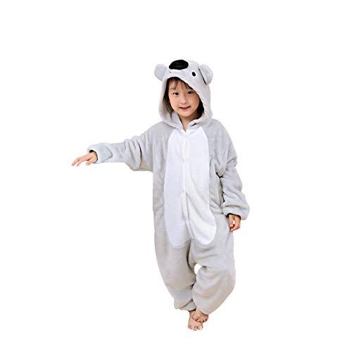 Erwachsene Tierkostüme Jumpsuit Pyjama Onesie Flanell Cosplay Kostüme Party Halloween Karneval Neuheit Tieranzüge Overall Schlafanzug Warm halten Weich Unisex Koala Grau - 135