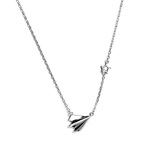 Yazilind Halskette 925 Sterling Silber Halskette Mini Papier Flugzeug Anhänger für Frauen Schmuck