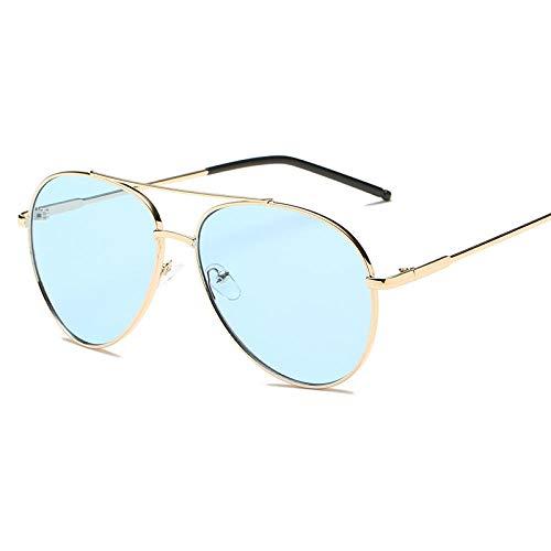 Gosunfly Gafas de sol graduadas con montura de metal, tendencia de moda, espejo de sapo, montura grande, sombrilla para todo fósforo, gafas de sol-Golden_Ocean Blue