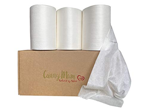 CannyMum - Fodera biodegradabile in bambù, 3 rotoli (600 fogli), senza sostanze chimiche/asciutte