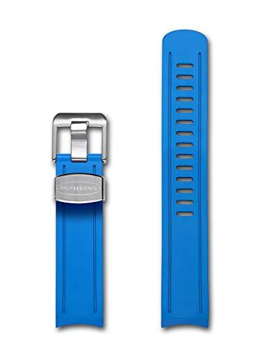 Crafter Cinturino in Gomma Blu con estremità Curva per Orologio Seiko Sumo SBDC031, SBDC003, SBDC005, SBDC031, SBDC033,
