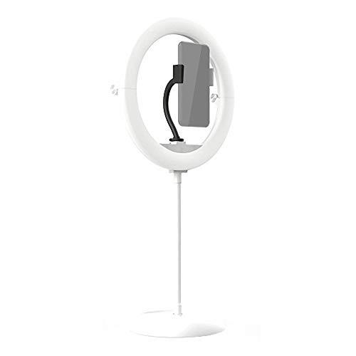 Flytise Portátil 10 Pulgadas LED Anillo de luz Diseño Plegable Luz Circular Temperatura de Color Ajustable Alto Brillo para teléfono móvil Transmisión en Vivo Maquillaje Video Selfie Blanco