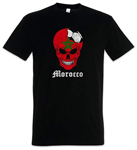 ouy Marokko Voetbal Schedel I T-Shirt Marokkaanse Voetbal Vlag Banner Wereld