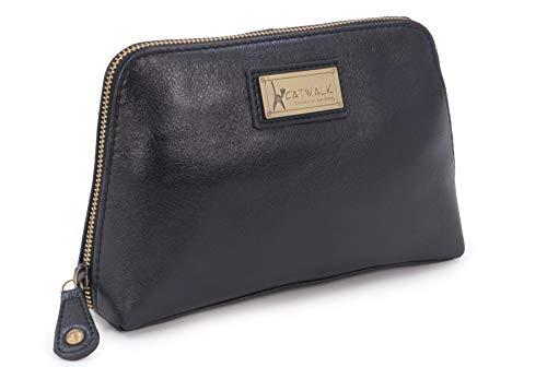 Catwalk Collection Handbags - Vintage Leder - Kosmetiktasche/Kulturtasche/Schminktasche für Handtasche - EMMA - Schwarz
