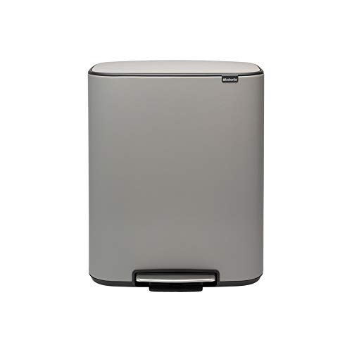 Brabantia Recycling Pedal Bin, Steel, Mineral Concrete Grey, Large (2x30L)