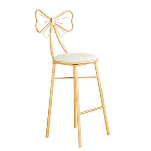 HYY-AA Taburete Retro Bar taburete de cocina silla de comedor con el capítulo de respaldo alto metal de la vendimia rústica de Diseño Industrial for el desayuno Barra de cocina (Color: Blanco, Tamaño: