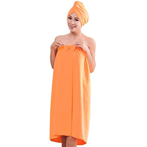IAMZHL 1 Juego de Toallas de baño de Microfibra Suave Toalla Absorbente mágica Toallas de Playa para Mujeres Toalla de baño de Secado rápido-Orange-Turban and Towel