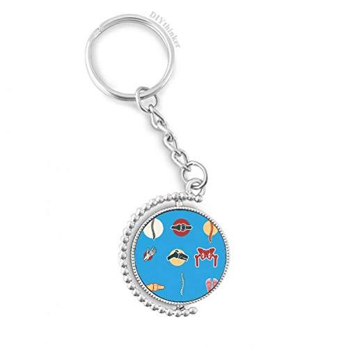 DIYthinker Menschliches Gelenk Illustration Knochen Drehbare Schlüsselanhänger Ringe 1.2 Zoll x 3.5 Zoll Mehrfarbig