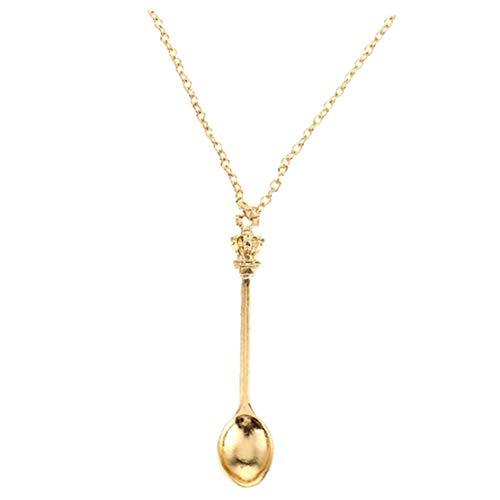 Casecover Gewürzlöffel Halsketten-zusatz-ton Löffel Anhänger Tee Wunder König-königin-Kronen-Kette