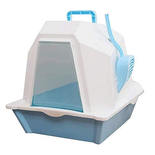 LGQBH Vollständig geschlossene große Katzen Katzentoilette Deo Anti-Panzer-Haustierbedarf Haustierbedarf Haustier Katzentoilette Toilette (Color : Blue)