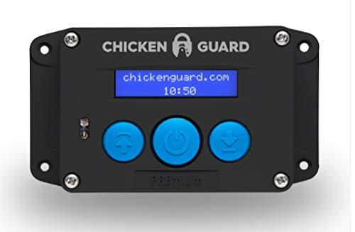 ChickenGuard Abrepuertas automáticas para puerta de gallinero 'Premium ECO', puertas con orificio de hasta 1 kg, sensor de temporizador/luz, pilas