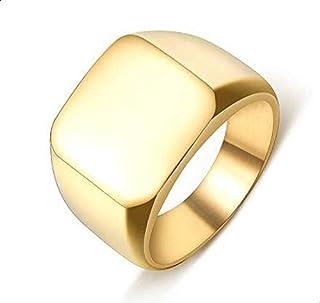 خاتم للرجال ذهبي مصقول مقاس 8