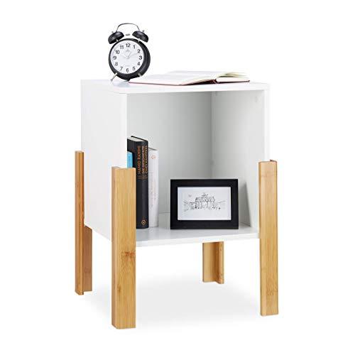 Relaxdays Nachttisch weiß, offenes Ablagefach, Nachtschrank, natürliche Bambusbeine, Nachtkästchen, 60x43x43 cm, White