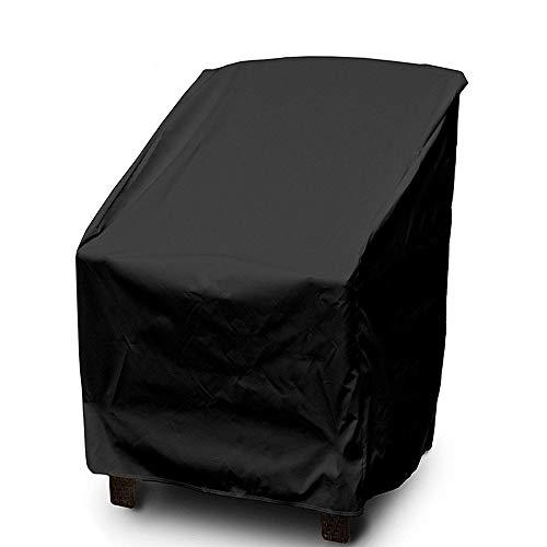 HONCENMAX Housse de Protection pour Chaises de Jardin Empilables - Housse Protectrice pour Fauteuils de Jardin - Imperméable/Protection UV Noir 27.5\