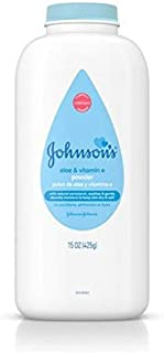 Johnson's Baby Powder with Naturally Derived Cornstarch Aloe & Vitamin E, Hypoallergenic, 15 oz  pack of 2 (Packaging May Vary).