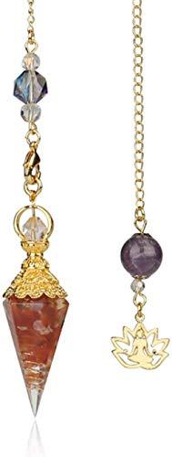 péndulo cristal piedra cuarzo piedras curativas 7 chakra joyería para mujeres hombres-Ágata roja
