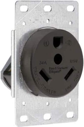 high quality Legrand - Pass & Seymour 3830CC6 Industrial-Strength Flush-Mount Power Outlet for RVs, high quality Dryers & discount Ranges | Travel Trailer Outlet 30A, 125 Volt, 2-Pole, 3-Wire,Black (Sіnglе pасk, Black) online