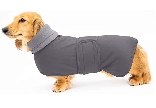 Morezi Abrigo de perro perfecto para perros salchichas, abrigo de invierno para perro con forro polar acolchado y cuello alto, traje de nieve para perro con bandas ajustables - Gris - XL