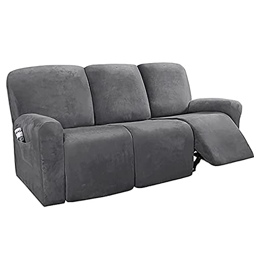 HKPLDE Sofa Slipcovers Sofa Covers 3 seater Stretch Recliner Sofa Cover Velvet Washable Sofa Protectors(gray) (Three Seats)