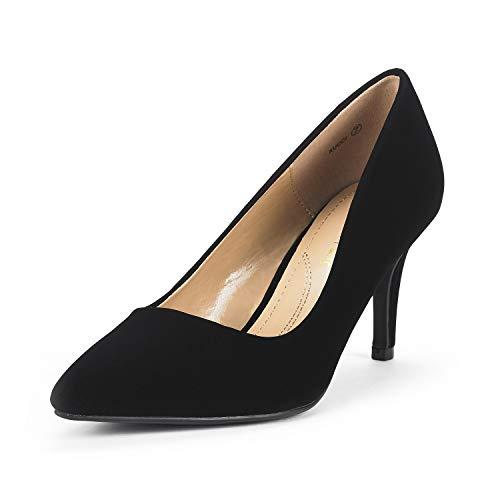 DREAM PAIRS Women's KUCCI Black Nubuck Classic Fashion Pointed Toe High Heel Dress Pumps Shoes Size 7 M US