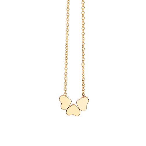 Collares para señoras encanto de belleza mujeres acero inoxidable tres corazón colgante cadena collar de mujer regalo de San Valentín (oro)