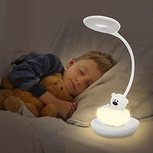 FemKey luz Nocturna Infantil, Luz De Noche Para Lectura Para Niños, Cuatro Cambios de Brillo Ahorro de Energía USB Recargable, Lámpara Dibujos Animados de Oso Dibujos Animados de Silicona (Blanco)