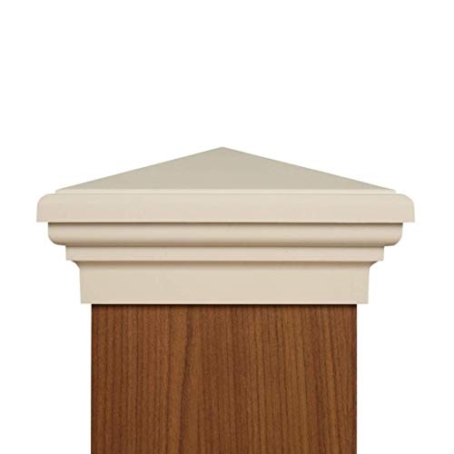 6x6 Post Caps (5.5') - (Case of 14) White New England Pyramid Style Square Top for Outdoor Fences, Mailboxes & Decks