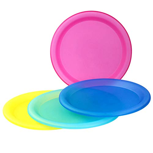 4 Pc Durable Reusable Plate Set - BPA-Free Sturdy Party Picnic Dinner Plates (Assorted Colors)