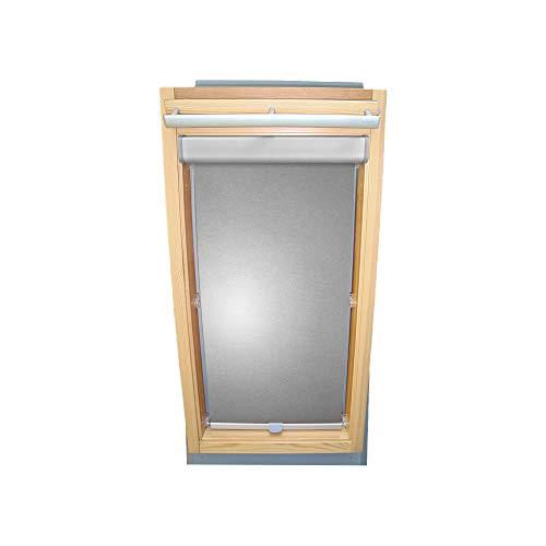 Rollo für VELUX Dachfenster THERMO Alu-Rückseite Abdunkelung Komfort Premium für TYP VL/VG/VX - 021 Typ II - Baujahr bis März 1983 - Farbe Silber-Grau - BLENDE + Haltekrallen - KLICK Montage