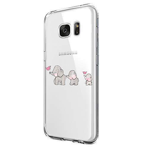 Riyeri Case Compatible with Galaxy S7 Edge Hülle Transparent Soft TPU Silikon Bumper Schutzhülle Handyhülle für Galaxy S7 Cover (S7, 8)