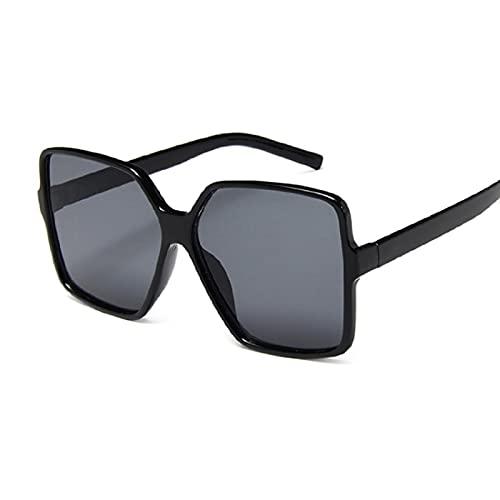 WANGZX Gafas De Sol Cuadradas Súper Grandes Moda con Parte Superior Plana Lente Transparente Negra Parasol Femenino Integrado Uv400 Blackgray