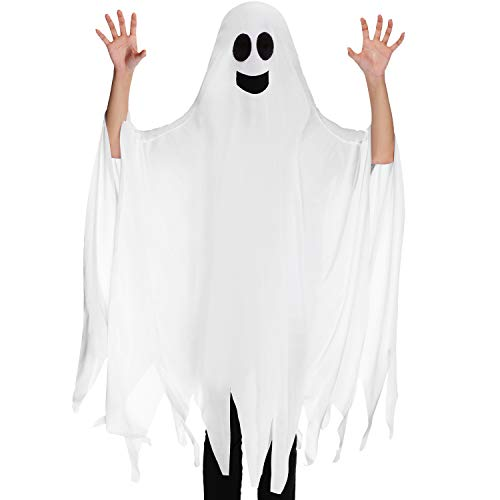 Ghost Halloween Costume Tattered Gown Cosplay Role Play Supply for Halloween Child Fancy Dress Costume, 4.27 x 3.94 Feet (Smile Style)