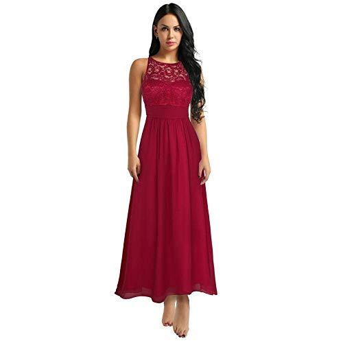 Vestido de Dama de Honor con Abertura Lateral de Encaje Floral Bordado sin Mangas para Mujer Vestidos Largos de Fiesta de Graduación para Desfile de Bodas-Navy_Blue_10, LIFU, Vino rojo