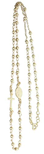 Hobra-Gold Rosario cadena de plata 925 chapada en oro maciza, cruz María, 50 cm, con mosquetón