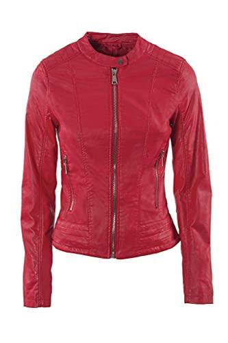 JOPHY & CO. Chaqueta corta de mujer de piel sintética (cód. 8820) o auténtica piel (cód. 8820/A) con bolsillos, cremalleras y cuello Coreana (Rojo (cod. 8820), XS)