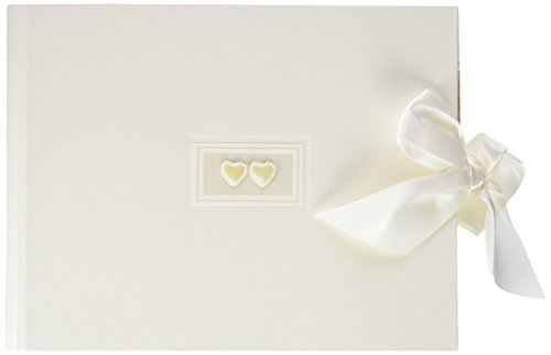 Rössler 1877822005 - Two Hearts - fotoalbum/gastenboek (60 witte pagina's, 30 vellen, 22 x 18 cm) wit met hartvormige applicatie en strik