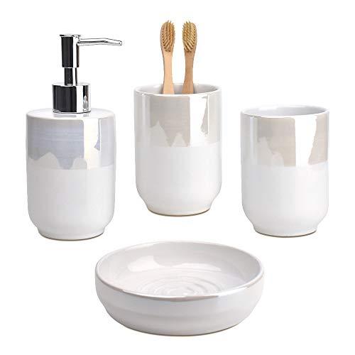 Satu Brown Badezimmerzubehör-Set mit Seifenspender (Pearl-Effekt Keramik)