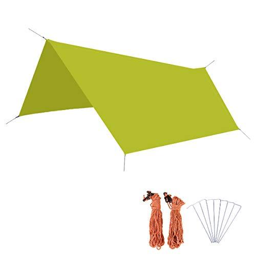 Azarxis Toldo Impermeable de Tienda de Campaña Ligero Lona del Piso para Sol Playa Pícnic Césped Mochilero con Accesorios Camping (Verde - L)